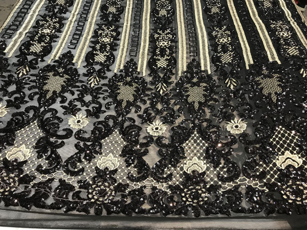 Black Sequins 4 way stretch wedding prom fashion decorations dresses by the yard top shop tablecloths night gowns customs skirts runner - IceFabrics
