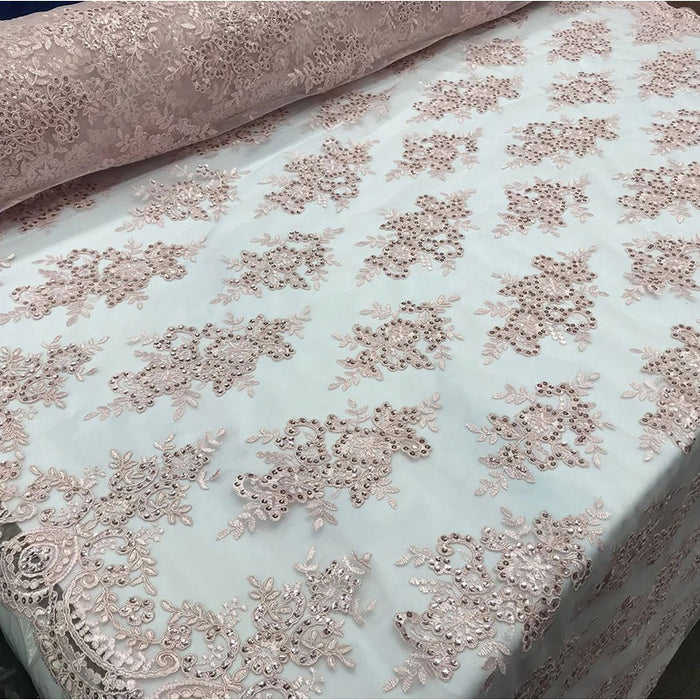 Dusty Rose - Modern flower design embroider on mesh with sequins and metallic cord-prom-nightgown-decorations-sold by the yard prom wedding decor - IceFabrics