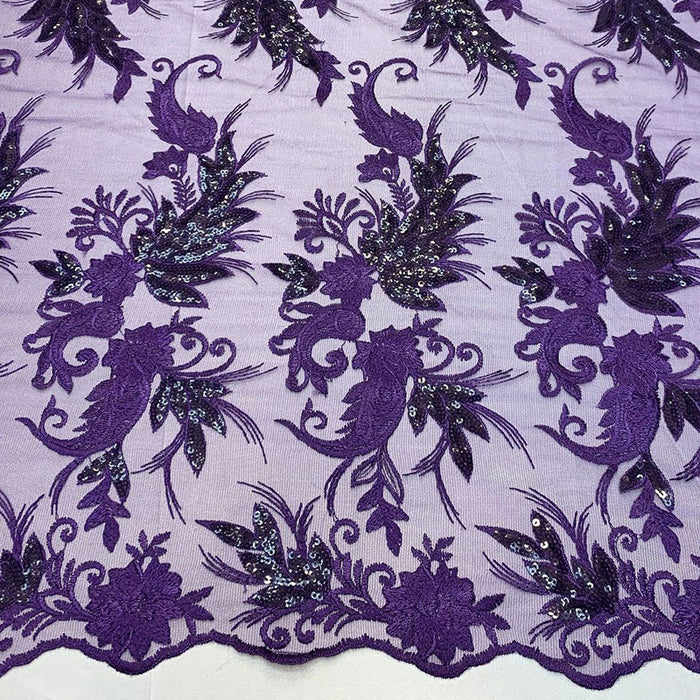 Purple - FAST SHIPPING/ Mesh Lace Fabric Sold By The Yard Floral/Flowers Sequins Stretch Embroidered Handmade Lace/Tablecloths/ Dress For Decorations, Skirts, Runners, Tablecloths - IceFabrics
