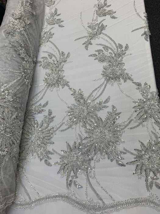 Silver, WhiteFrench MODERN 3D Flowers LaceHand Beading LaceMesh Lace Beaded Fabric By the YardDesigner Luxury FabricEmbroidery - IceFabrics