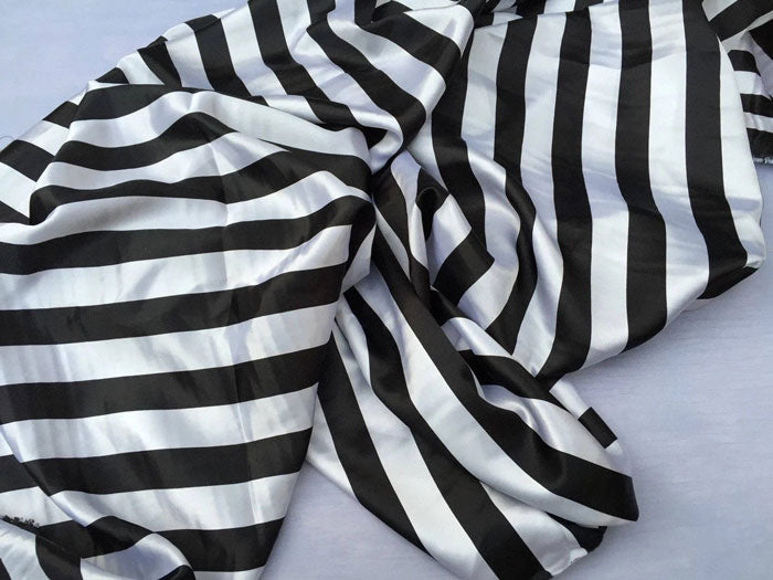"White/black - Stripe Bridal Satin Fabric 60"" Wide Made in USA - IceFabrics"