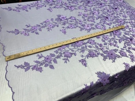 Lavender/Purple - HIGH QUALITY Beaded Lace Embroidery Mesh Lace Fabric By The Yard Handmade Floral Lace 3D Flowers Design With Beads And Pearls - IceFabrics