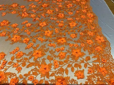 Orange - HIGH QUALITY Beaded Lace Embroidery Mesh Lace Fabric By The Yard Handmade Floral Lace 3D Flowers Design With Beads And Pearls - IceFabrics