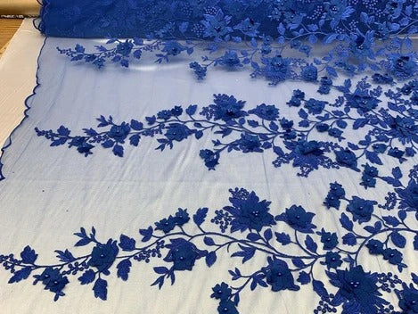Royal Blue - HIGH QUALITY Beaded Lace Embroidery Mesh Lace Fabric By The Yard Handmade Floral Lace 3D Flowers Design With Beads And Pearls - IceFabrics