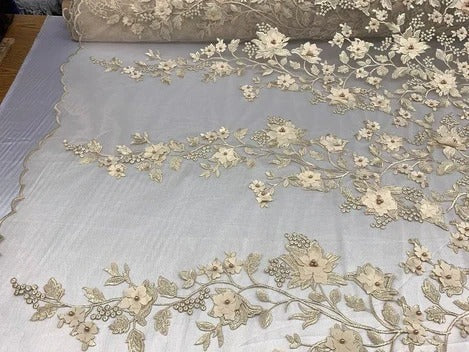 Champagne/Cream - HIGH QUALITY Beaded Lace Embroidery Mesh Lace Fabric By The Yard Handmade Floral Lace 3D Flowers Design With Beads And Pearls - IceFabrics