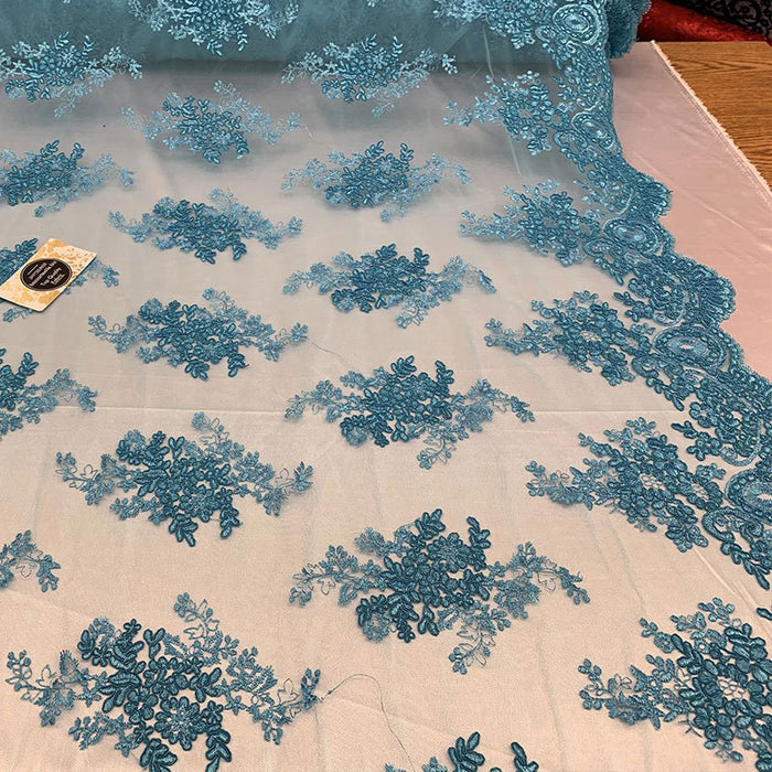 Turquoise - French Design Floral Mesh Lace Embroidery Fabric - IceFabrics