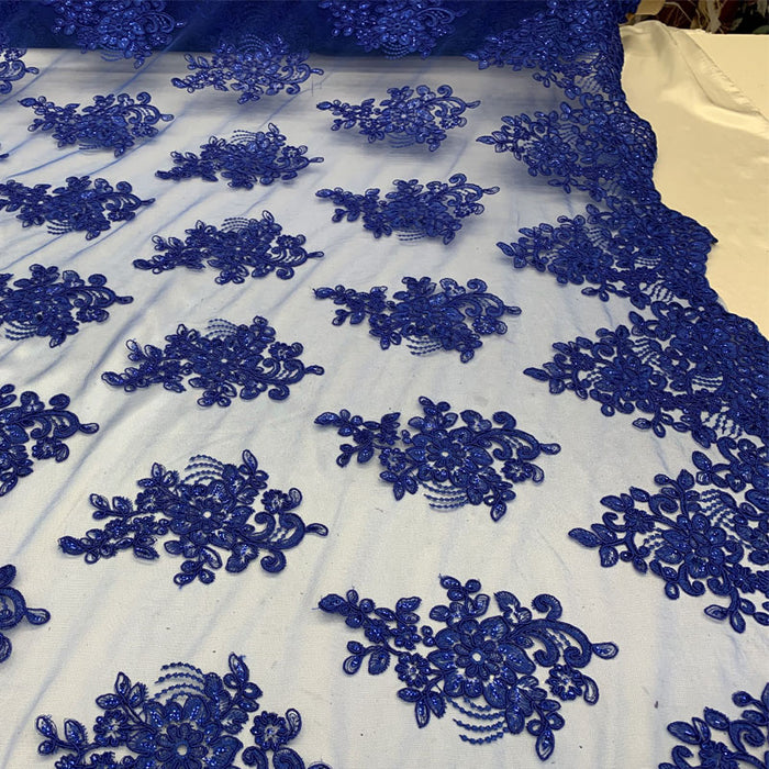 Royal Blue - Embroidered Mesh lace Floral Design Fabric With Sequins By The Yard - IceFabrics