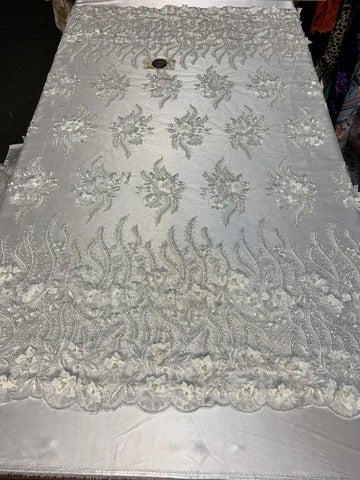 White - New 3D Beaded Flowers Hand Embroidered Floral Mesh Lace With Sequins By The Yard For Prom Dresses/Tablecloths/Runners/Night Gowns - IceFabrics
