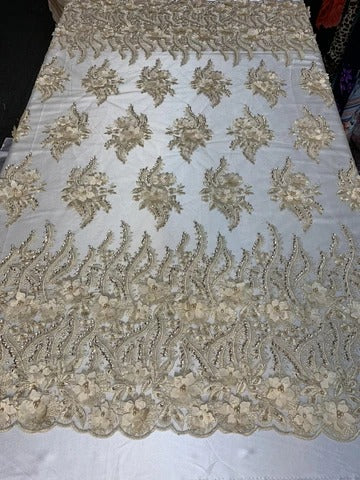 Champagne - New 3D Beaded Flowers Hand Embroidered Floral Mesh Lace With Sequins By The Yard  For Prom Dresses/Tablecloths/Runners/Night Gowns - IceFabrics