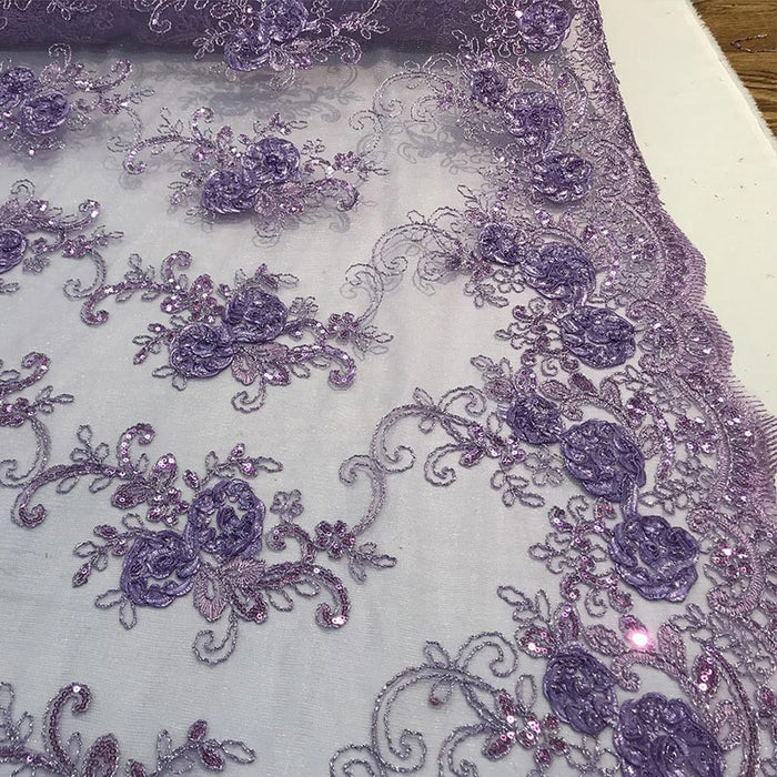 Lavender - Embroidered Mesh Lace Flower Design With Sequins Fabric - IceFabrics