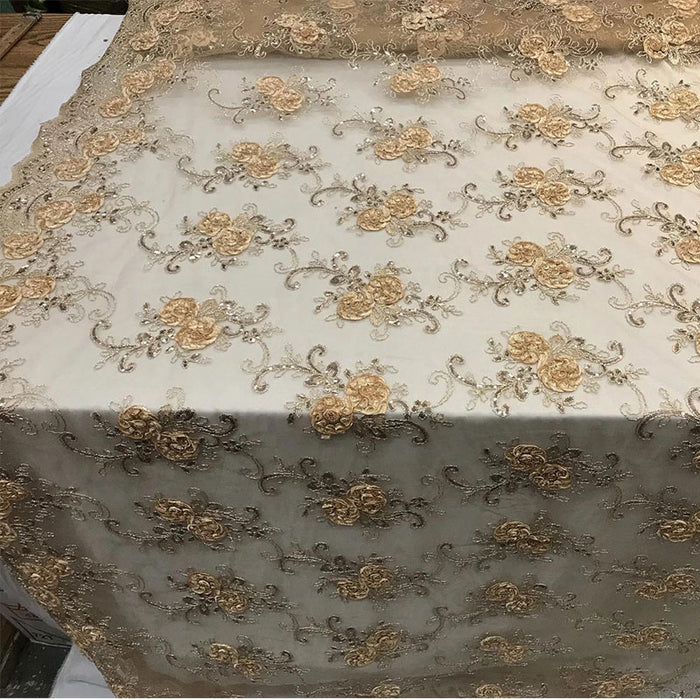 Gold - Embroidered Mesh Lace Flower Design With Sequins Fabric - IceFabrics