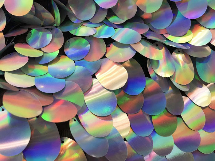 Silver - Iridescent Sequins Hologram Fabric Oval Teardrops 58 Inch Fabric Sold By The Yard - IceFabrics