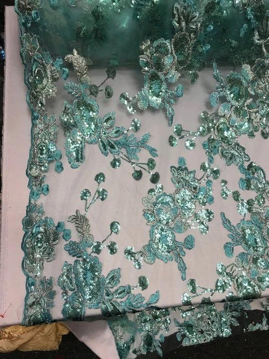 Mint - Transparent Prom Design Bridal Mesh Lace Embroidered Wedding Fabric - IceFabrics