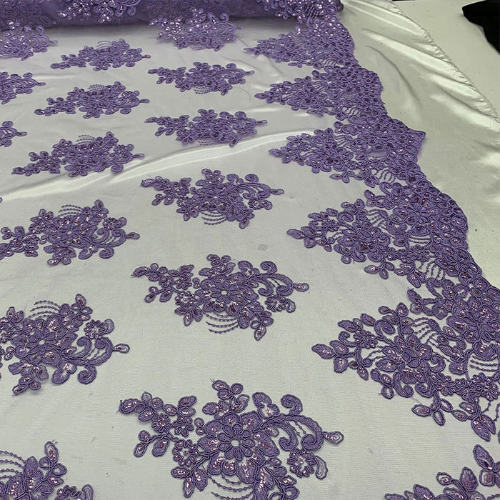 Lavender - Embroidered Mesh lace Floral Design Fabric With Sequins By The Yard - IceFabrics