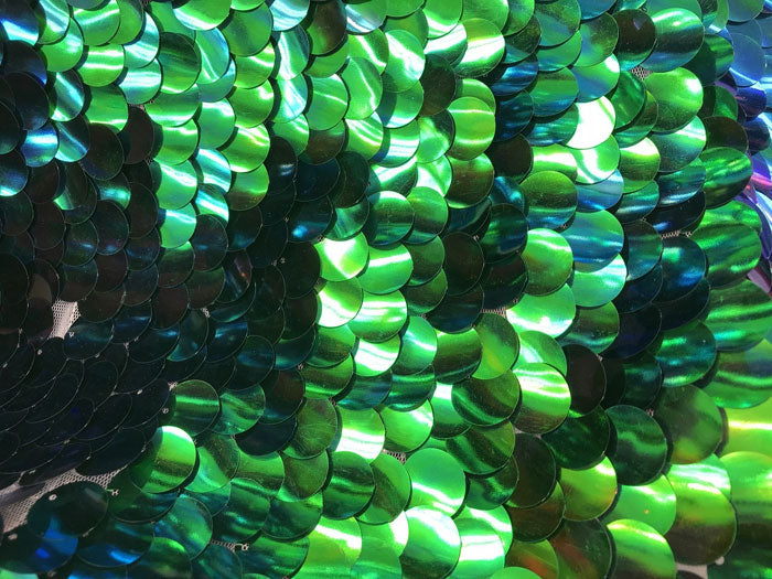 Blue/Green - Iridescent Circle Sequins Hologram Fabric Multi Color Fabric Sold By The Yard - IceFabrics