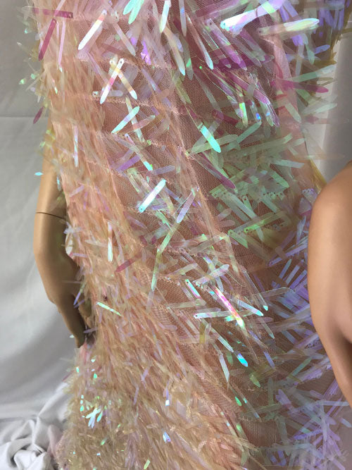 "Spike Sequins Holographic Mesh Fabric Candy Pink 51"" Wide Sold By The Yard DIY Dress Decor Costume Accessories Crafts - IceFabrics"
