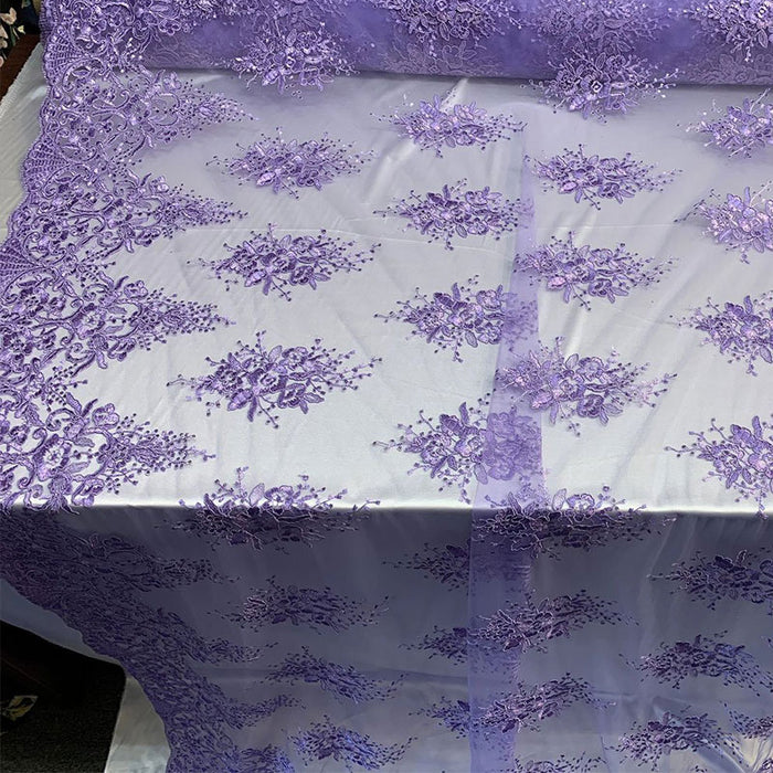 Lilac - Hand Made Mesh Lace Embroidery Fabric By The Yard (Dusty Rose, Pink) Flowers/Floral Lace Soft Mesh For Tablecloths,Runners,Skirts,Costumes - IceFabrics