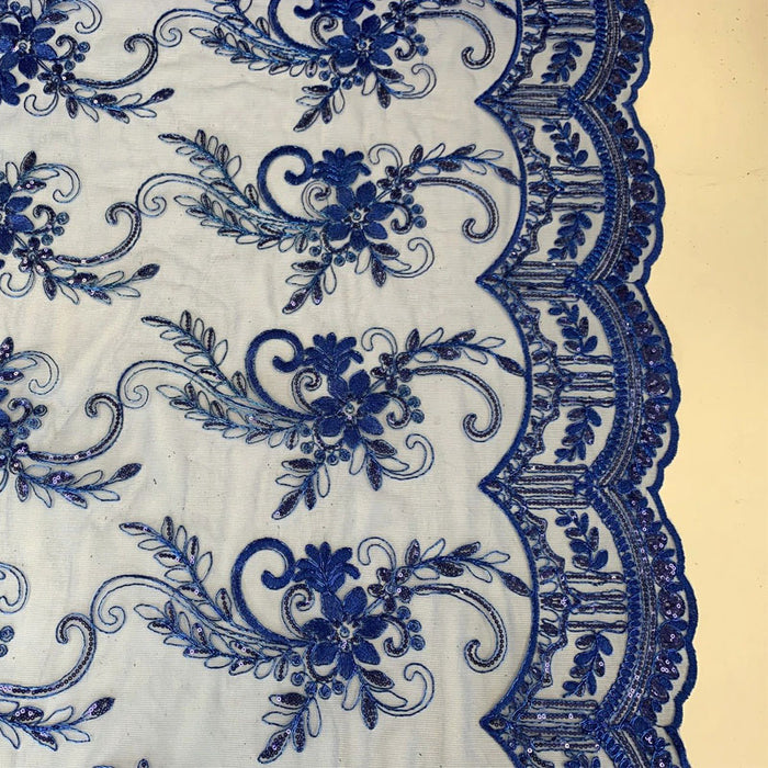 Royal Blue - Metallic Flowers Sequins On A Mesh Lace Fabric// Lace By The Yard//Floral Embroider Lace Tablecloths,Costumes,Decorations,Runners - ICE FABRICS