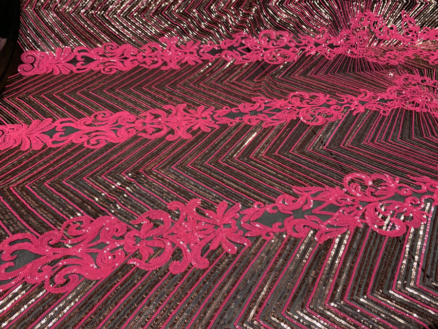 Neon Pink Rose Gold Black On Black Mesh - Nadia 4 Way Stretch Sequins Spandex Embroider Fabric - IceFabrics