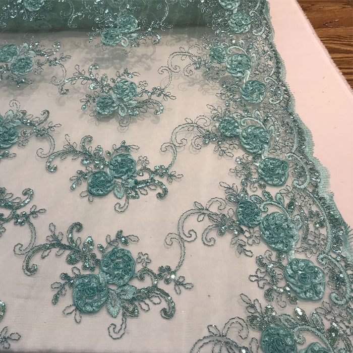 Mint - Embroidered Mesh Lace Flower Design With Sequins Fabric - IceFabrics
