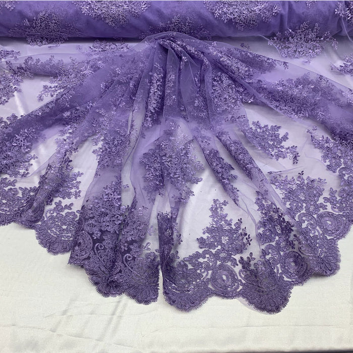 Lavender - French Design Floral Mesh Lace Embroidery Fabric - IceFabrics