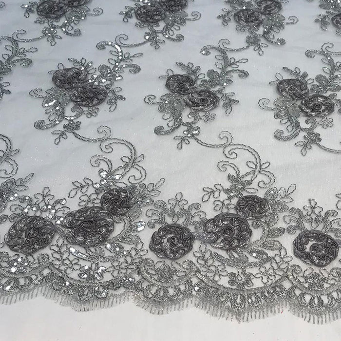 Silver/Gray - Embroidered Mesh Lace Flower Design With Sequins Fabric - IceFabrics