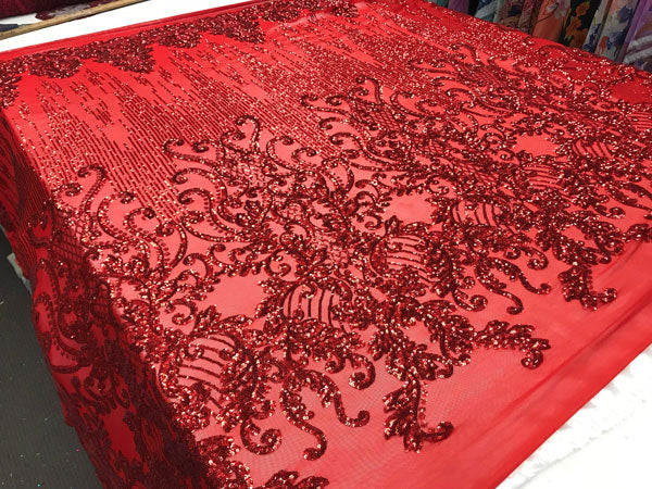 Red Luxury Design 4 Way Stretch Sequins Fabric By The Yard - IceFabrics