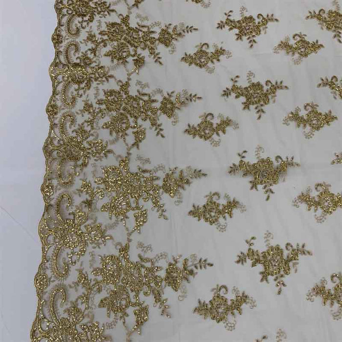 Gold Metallic - Embroidered Bridal Fabric Mesh Lace Floral Flowers Fabric Sold by the Yard - IceFabrics