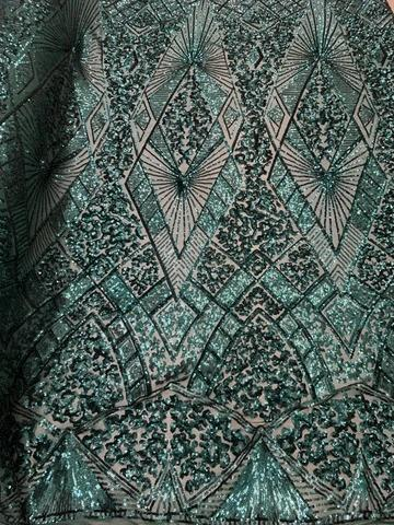 Hunter Green - STRETCH SEQUINS Fabric By The Yard 4 Way Stretch Sequins Spandex Mesh Power Mesh Sequins Lace//Embroider Geometric Prom Sequins - IceFabrics