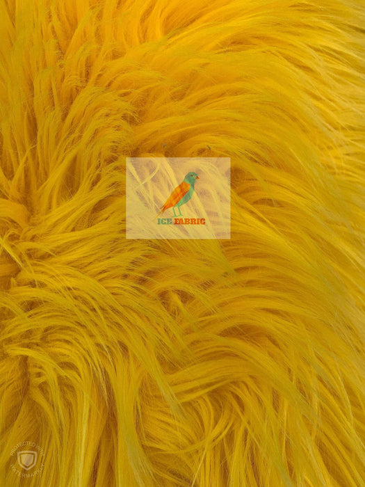 Yellow - Fur Coats, Fur Clothing, Blankets, Bed Spreads, Throw Blanket Fake Fur Solid Mongolian Long Pile Fabric / Sold By The Yard - IceFabrics
