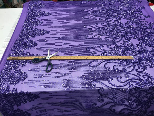 Purple Luxury Design 4 Way Stretch Sequins Fabric By The Yard - IceFabrics