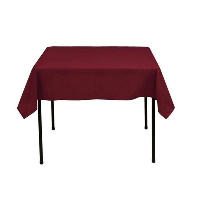 Burgudy - Washable Polyester 60 x 60 Inch Square Tablecloth - IceFabrics