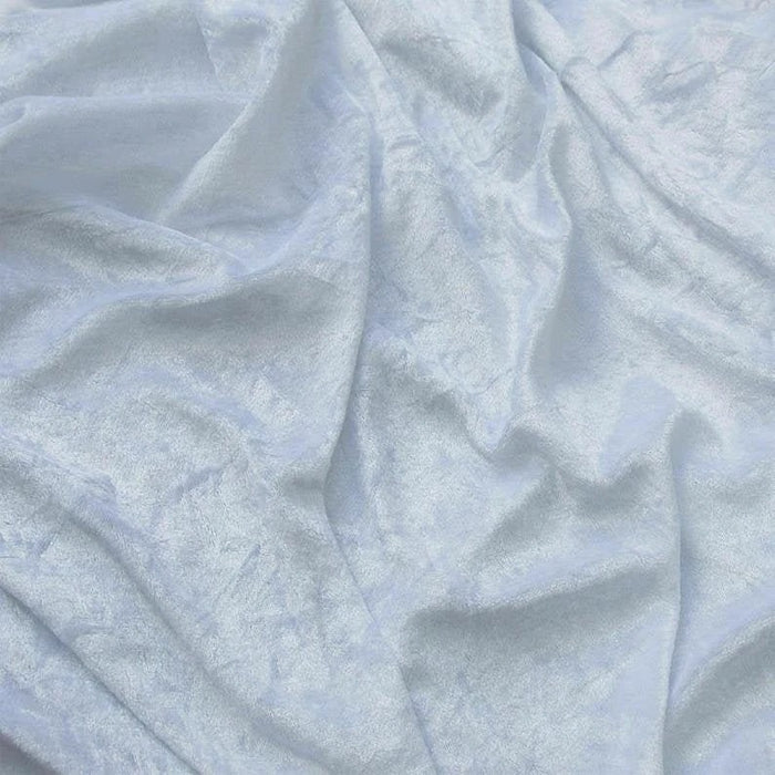 White - 58/60 Inch Stretch Crushed Velvet Fabric By The Yard - IceFabrics