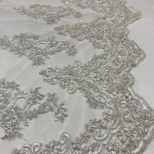 White  - Floral Embroidered Bridal Wedding Beaded Mesh Lace Fabric - IceFabrics