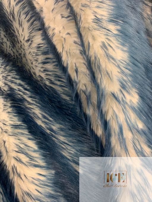 Canadian Fox 2 Tone Shaggy Long Pile Faux Fur Fabric For Blankets, Costumes, Bed Spread
