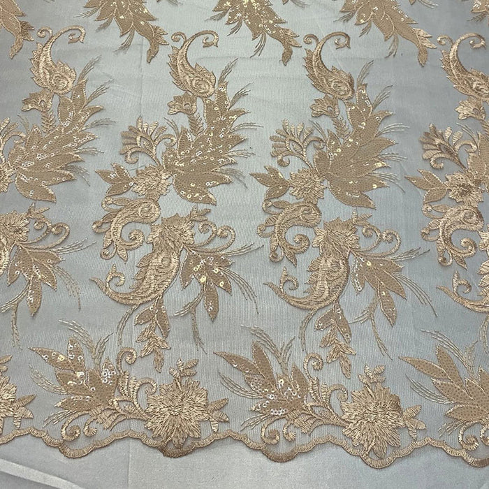 Peach - FAST SHIPPING/ Mesh Lace Fabric Sold By The Yard Floral/Flowers Sequins Stretch Embroidered Handmade Lace/Tablecloths/ Dress For Decorations, Skirts, Runners, Tablecloths - IceFabrics