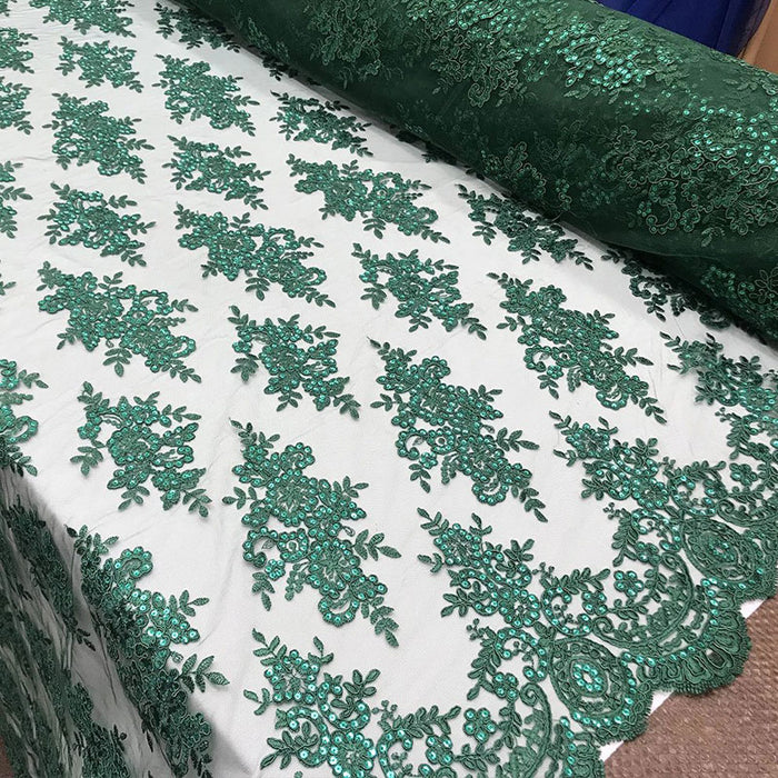 Hunter Green - Modern flower design embroider on mesh with sequins and metallic cord-prom-nightgown-decorations-sold by the yard prom wedding decor - IceFabrics