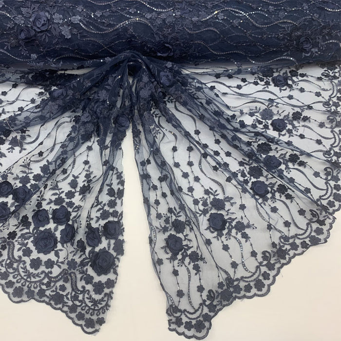 Navy Blue - Luxury Design Embroidered Fashion Modern 3D Flowers Handmade Mesh Lace Fabric By The Yard - IceFabrics