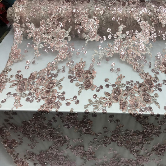 Blush - Transparent Prom Design Bridal Mesh Lace Embroidered Wedding Fabric - IceFabrics
