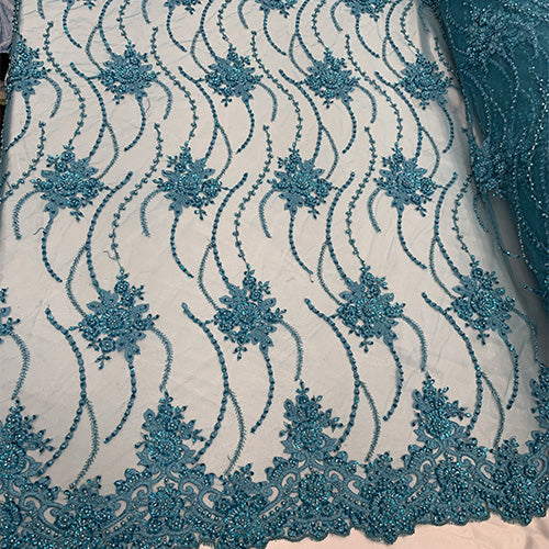 Aqua - NEW Paris Lace//Lace Mesh Beaded Flowers Hand Beaded Floral FABRIC By The Yard//Fashion Embroidery Lace//Heavy Beaded Fabric Prom Lace - IceFabrics