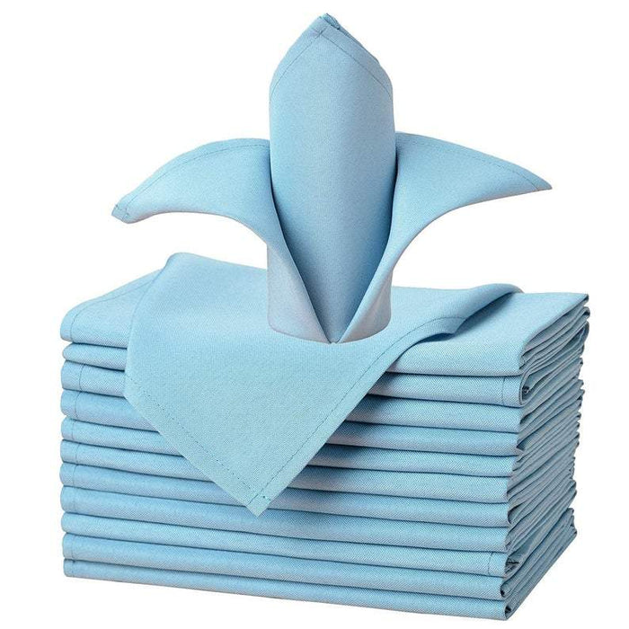 "Baby Blue - 20""x20"" Solid Polyester Washable Cloth Napkins For Wedding Party Restaurant Dinner - Set of 12 Pieces - IceFabrics"