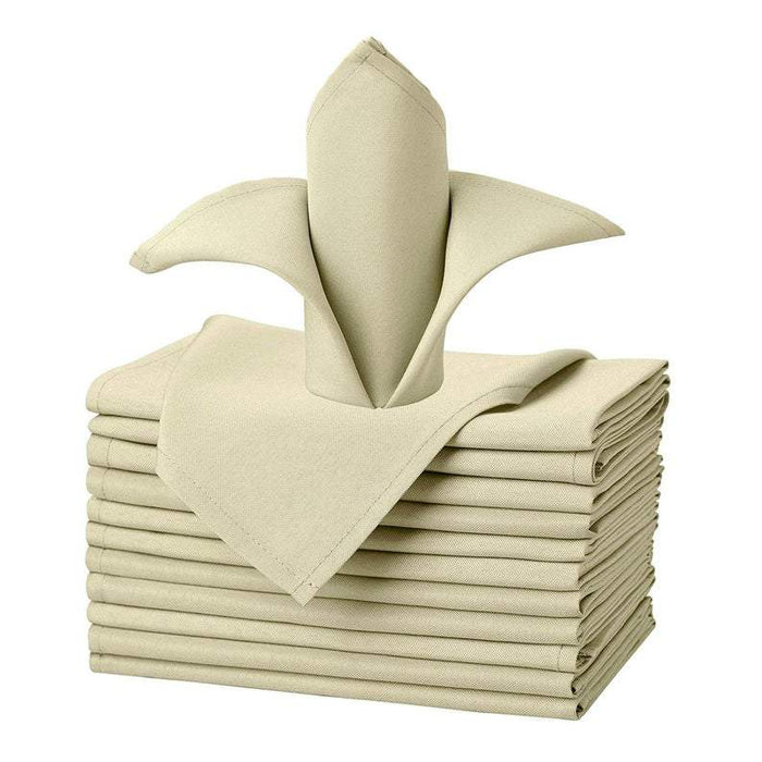 "Beige - 20""x20"" Solid Polyester Washable Cloth Napkins For Wedding Party Restaurant Dinner - Set of 12 Pieces - IceFabrics"