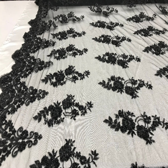 Black - Floral Embroidered Bridal Wedding Beaded Mesh Lace Fabric - IceFabrics