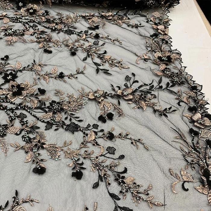 Black - Most Expensive Lace 2019_ 3D Flowers/Floral_ Embroidery Beaded Mesh Lace Fabric By the Yard With Beads_ Handmade Lace With Pearls - IceFabrics