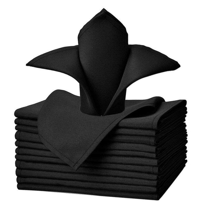 "Black - 20""x20"" Solid Polyester Washable Cloth Napkins For Wedding Party Restaurant Dinner - Set of 12 Pieces - IceFabrics"