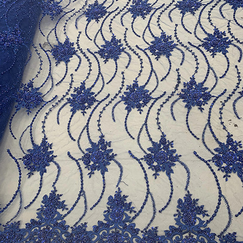 Royal Blue - NEW Paris Lace//Lace Mesh Beaded Flowers Hand Beaded Floral FABRIC By The Yard//Fashion Embroidery Lace//Heavy Beaded Fabric Prom Lace - IceFabrics