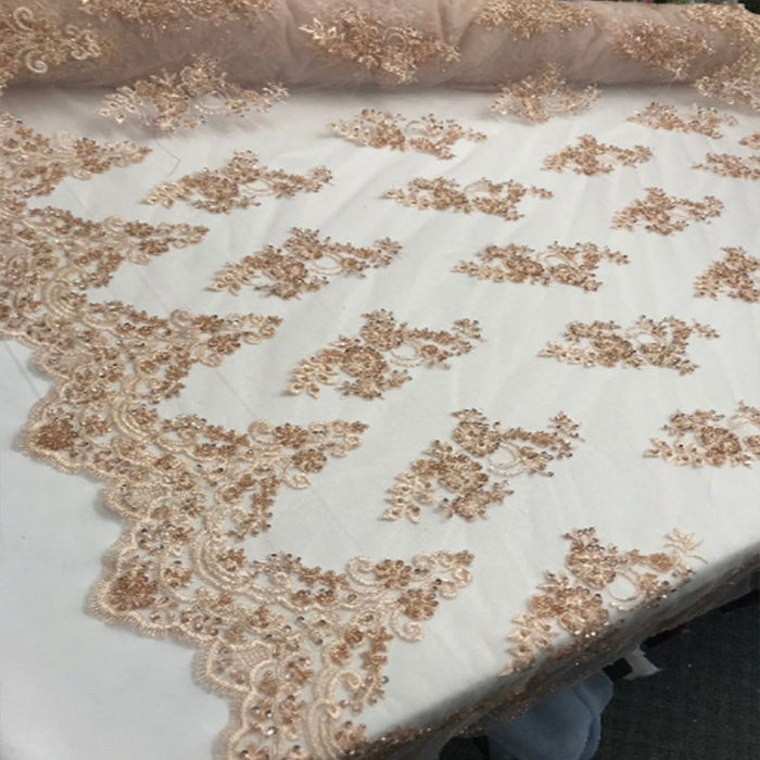 Blush - Floral Embroidered Bridal Wedding Beaded Mesh Lace Fabric - IceFabrics