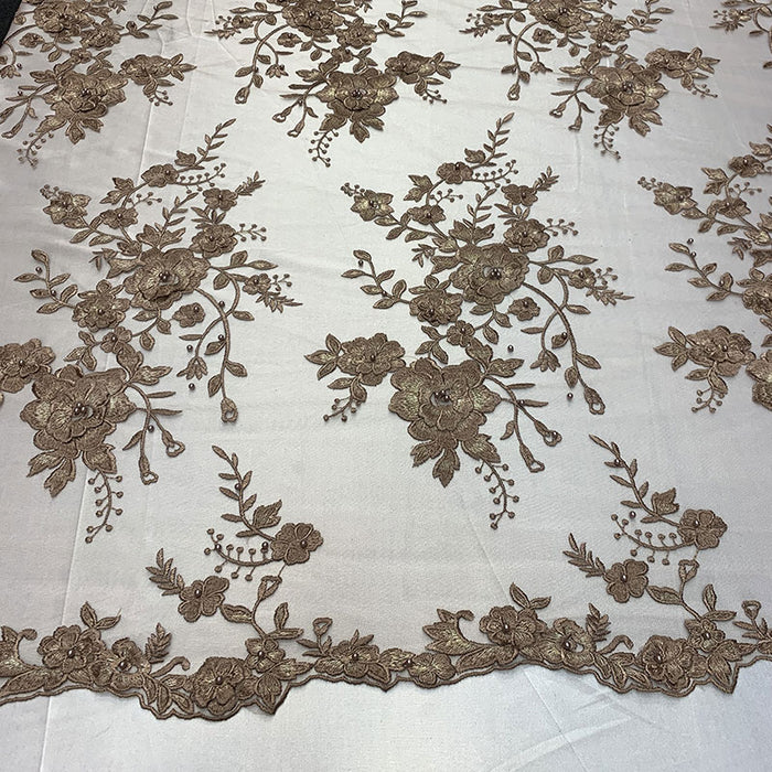 Brown/Mauve - Elegant 3D Handmade Floral Flowers Beaded Mesh Lace Fabric By The Yard - IceFabrics