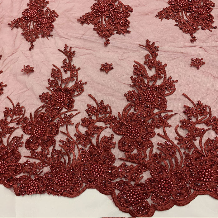 Burgundy - Corded Flowers Floral Beaded Mesh Lace Wedding Dress - IceFabrics