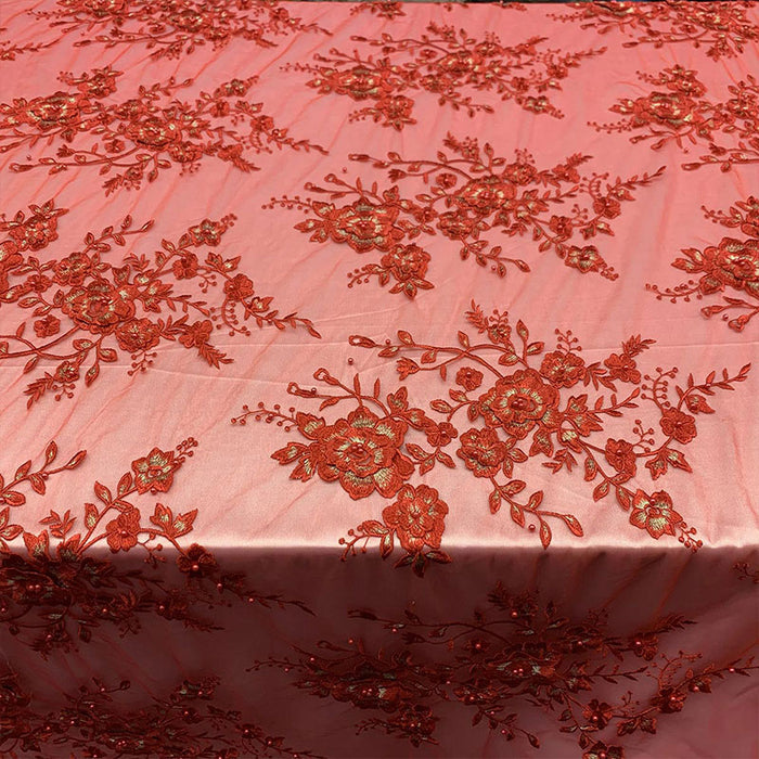 Burgundy- Elegant 3D Handmade Floral Flowers Beaded Mesh Lace Fabric By The Yard - IceFabrics